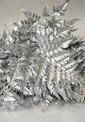 Silver Painted Leather Leaf
