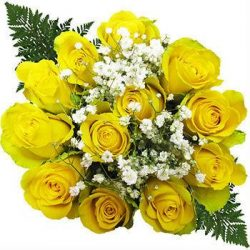 yellow-dozen-rose-bouquet