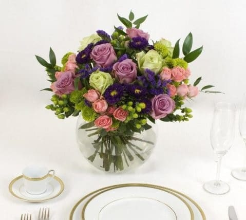 table centerpieces in bright colors