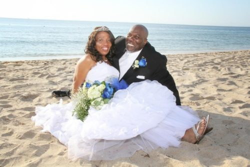beach wedding with blue roses