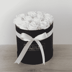 white preserved roses in round box